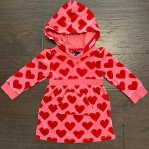 Gap BabyGap 3T velour pink red heart dress